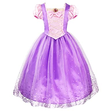 Amazon.com: JiaDuo Girls Princess Rapunzel Dress Tulle Party ...