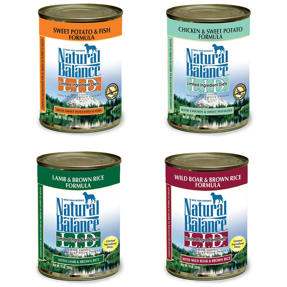 4 Cans ONly Natural Balance L.I.D. Limited Ingredient Diet Canned Dog Food Variety Pack - Chicken/Sweet Potato, Lamb/Brown Rice, Fish/Sweet Potato, & Boar/Brown Rice (13.2 oz. x 4 cans)