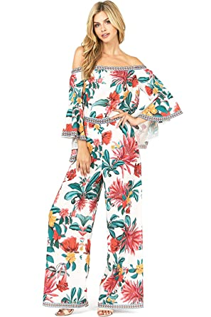8ae449374f Flying Tomato Women s Matching Tropical Floral Print Outfit Top + Pants Set  at Amazon Women s Clothing store