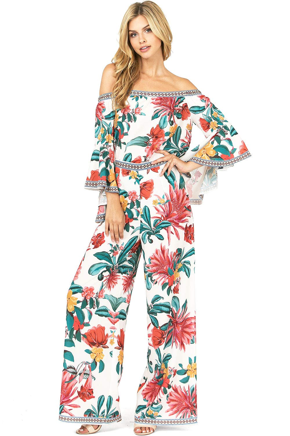 Flying Tomato Women's Matching Tropical Floral Print Outfit Top + Pants Set (L, Ivory)