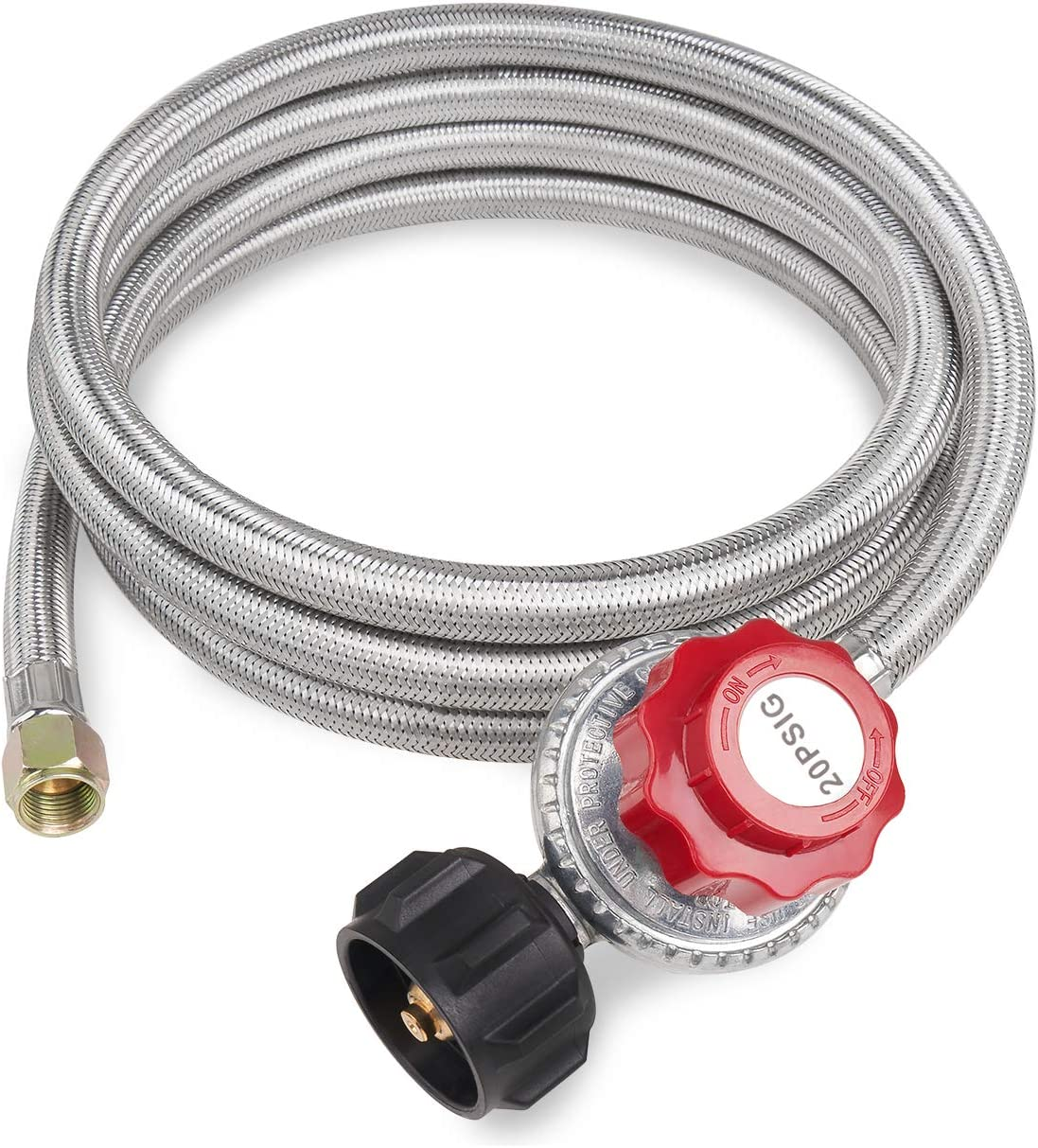 GASPRO 8FT 20 PSI Adjustable Propane Regulator with Braided Hose for Turkey Fryer, Burner, Cooker, Grill, Firepit etc