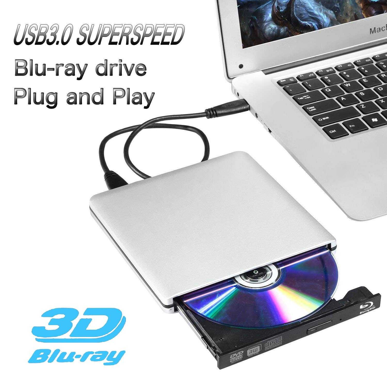 External Blu ray Drive,Ploveyy USB 3.0 4K 3D Blu Ray External Blu Ray Player Writer Portable BD/CD/DVD Burner Drive Polished Metal Chrome for Windows, Mac OS Laptop, PC, Computer