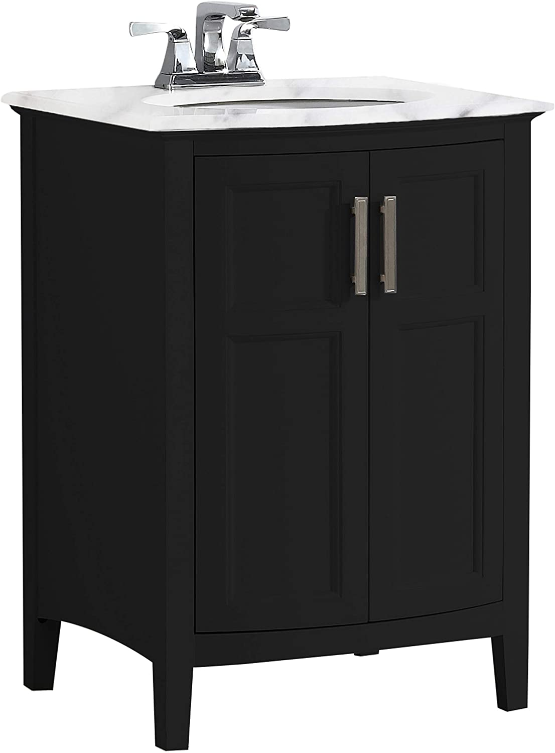 Simpli Home Winston 24 inch Contemporary Bath Vanity in Black with Bombay White Engineered Quartz Marble Extra Thick Top
