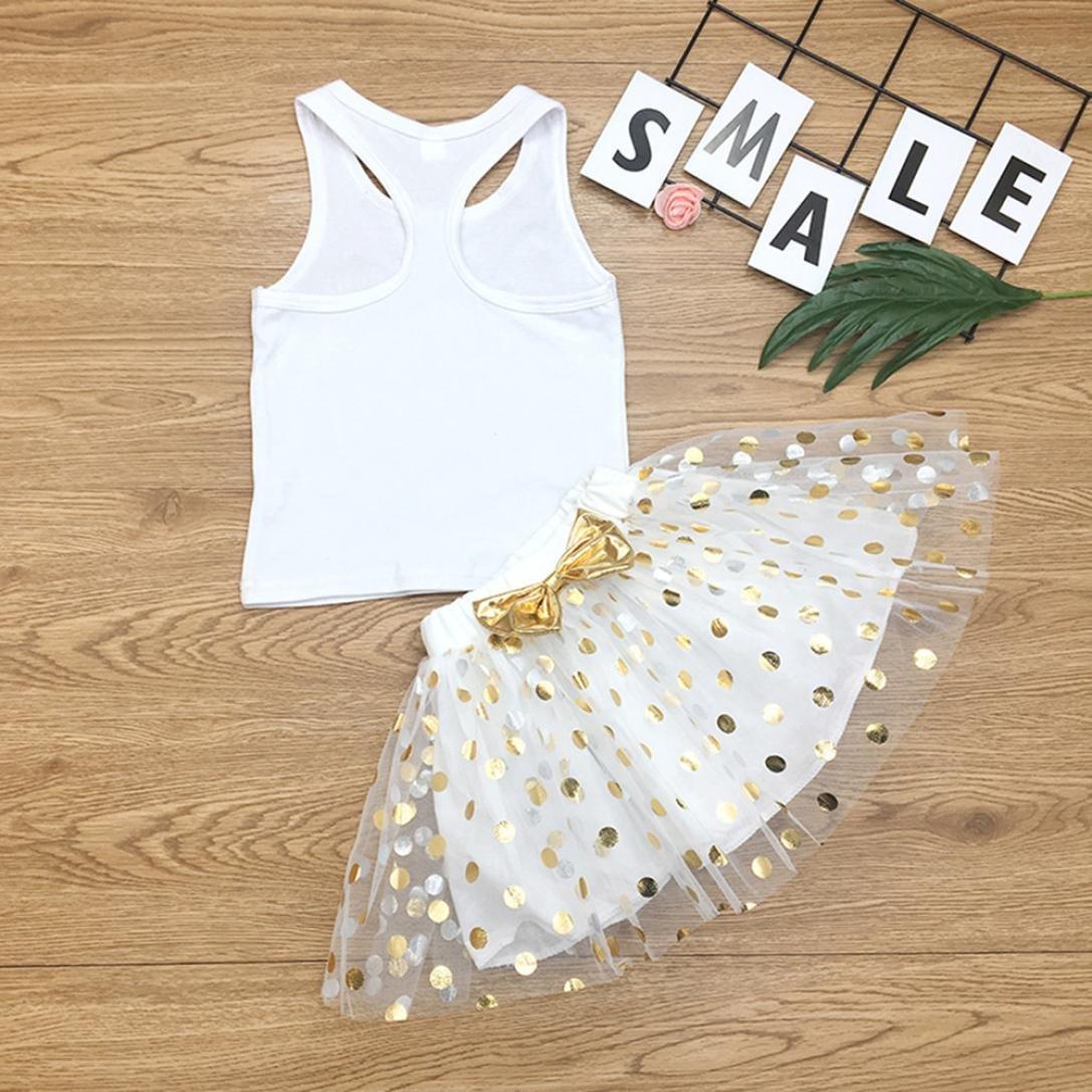 Little Girls Skirts Set,Jchen TM 2PC Toddler Baby Kids Girls Letter Print Sleeveless Vest+Spot Bubble Skirt Set