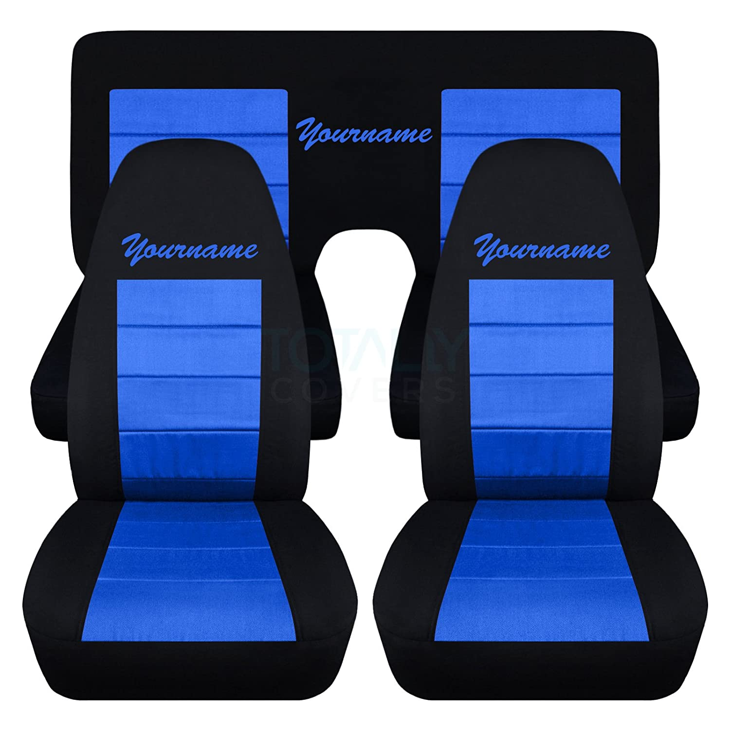 Totally Covers Fits 1970-1981 Chevy Camaro 2-Tone Seat Covers with Your  Name/Text: Black & Blue - Full Set (22 Colors) Coupe 2nd Generation  Chevrolet