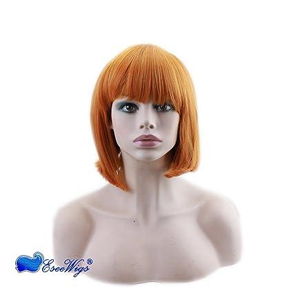 Eseewigs lindo BOB peinado oro marrón sintético sin peluca de encaje con flequillo NoTangle sin derramamiento