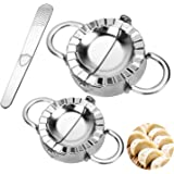"""Dumpling Maker Stainless Steel 3 Pieces, Dumpling Mold Set with 2 Sizes of the Dumpling Molds and 1 Stuffing Spoon Kitchen Accessories (3.74""""/9.5cm, 2.95""""/7.5cm)"""