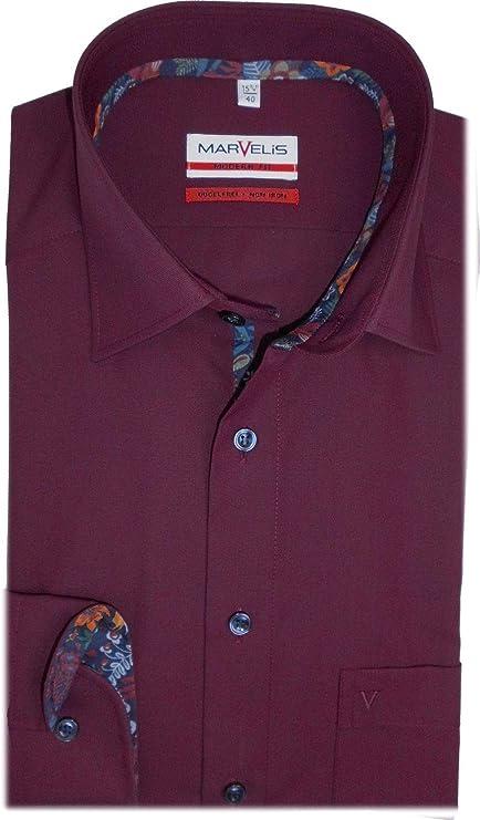 Marvelis Camisa de corte moderno, manga larga, cuello New ...