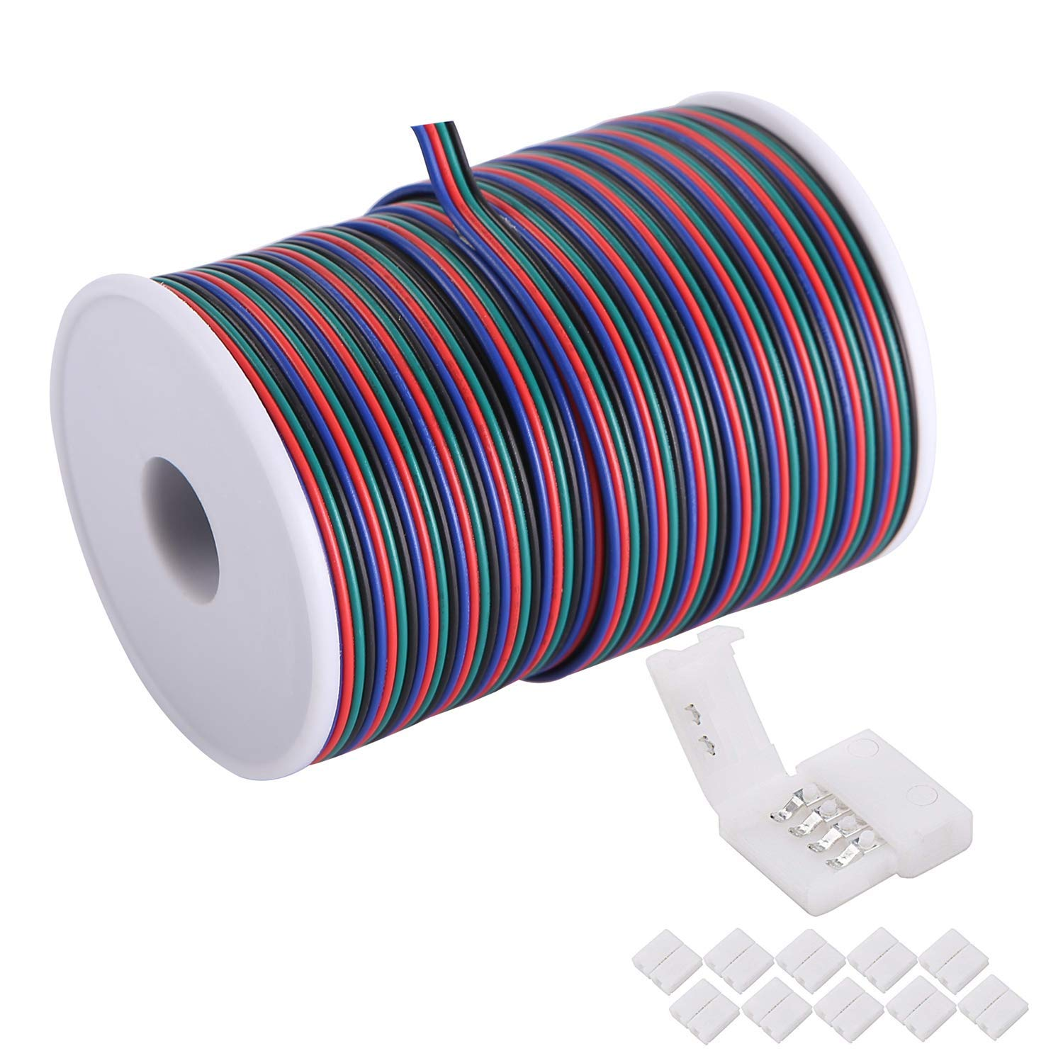 100Ft(30.5M) 22 Awg 4Pin RGB Wire Extension Cable with Spool, Led Lights Wires Strip Extend Wire for 5050 3528, with 8Pcs RGB Led Strip Connectors