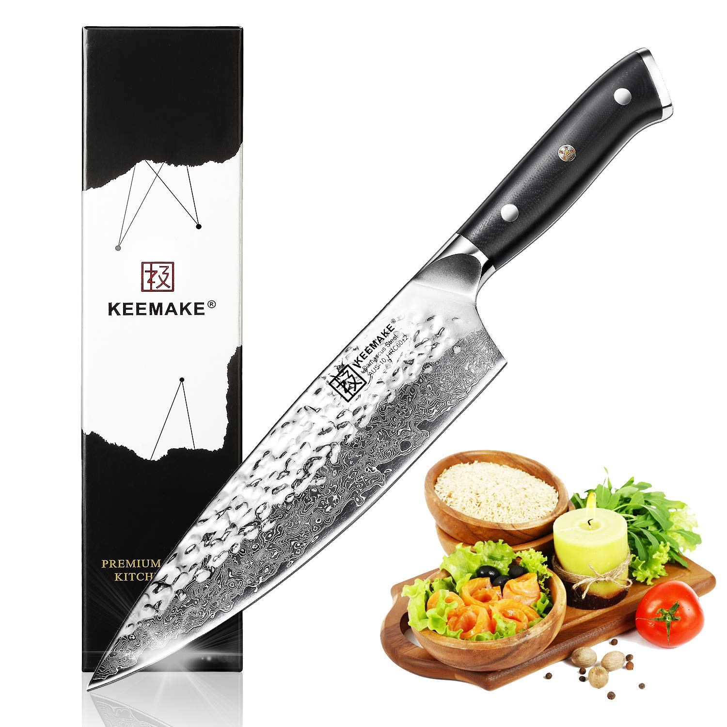 Damascus Chef Knife - KEEMAKE Pro Kitchen Knives8 Inch Japanese AUS-10 High Carbon Stainless Steel 67 Layer Damascus Deba Chefs Knife with G10 Ergonomic Handle - Razor Sharp -Hammered Finish