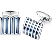 HONEY BEAR Stripe Cufflinks for Men's Shirts - Rectangle Stainless Steel, for Business Wedding Gift Blue