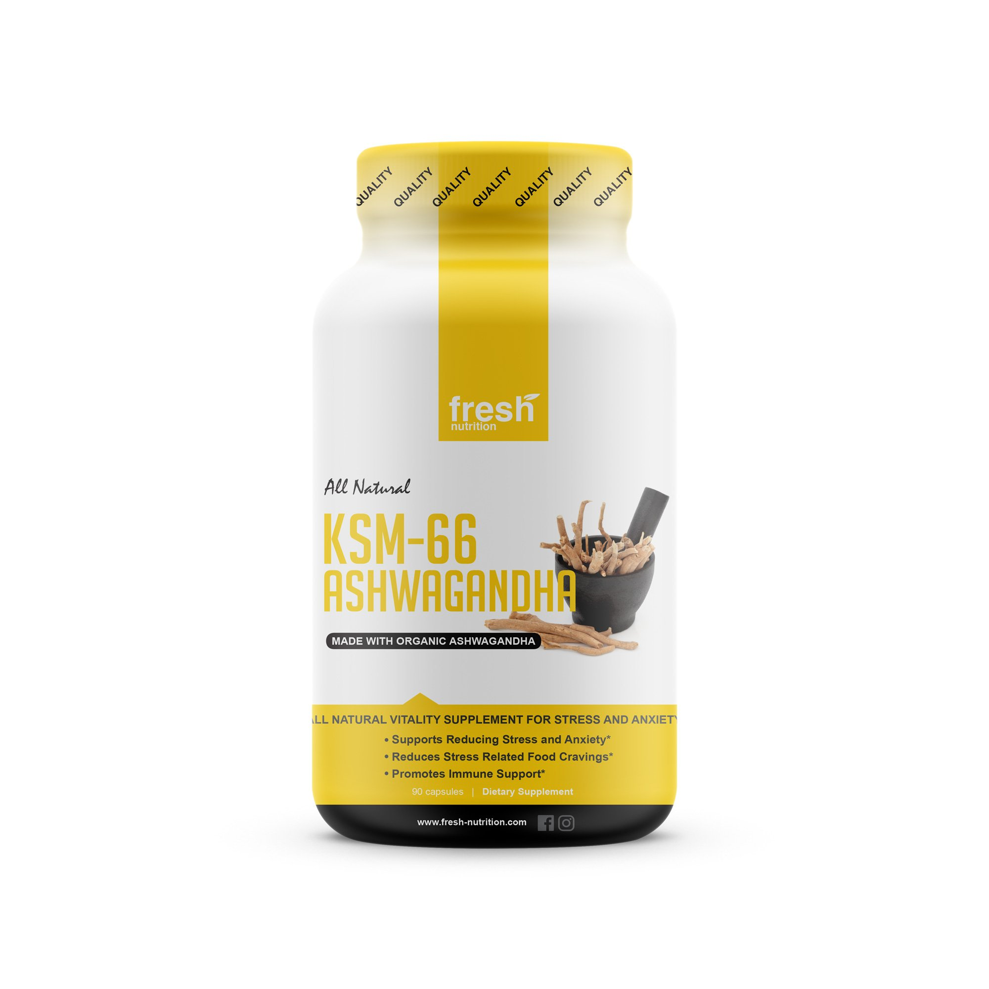 KSM-66 Ashwagandha - Organic Root Extract - 700mg High Potency 5% Withanolides (75mg)- Reduces Stress & Anxiety Relief Like Kava Kava - Energy & Focus - 45 Day Supply - 90 Veggie Capsules