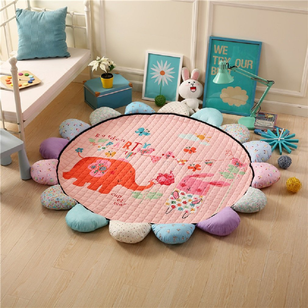 JIBUTENG Kids Living Room Rugs,Cartoon Sunflower Design Play Mat,Round Children Creeping Mat Toddler Mat,Sweet Animal Pattern Carpet Rug for Bedroom (Elephant)
