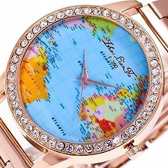 Amazon souarts womens rose gold steel band world map souarts womens rose gold steel band world map rhinestone dial quartz analog wrist watch 23cm sciox Choice Image
