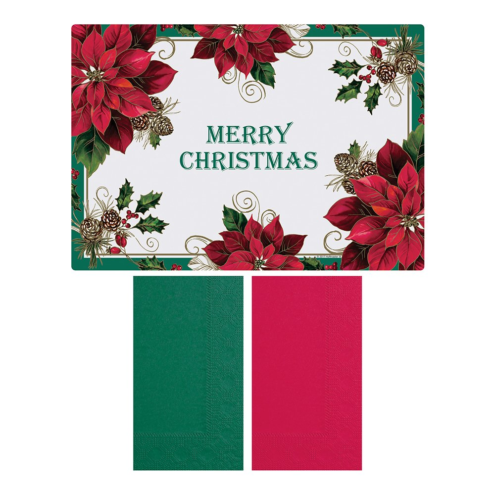 Placemat and Napkin Combo Pack Pack of 500 Each case has 250 Placemats, and 250 Napkins Disposable, Hoffmaster 856794 Traditional Poinsettia