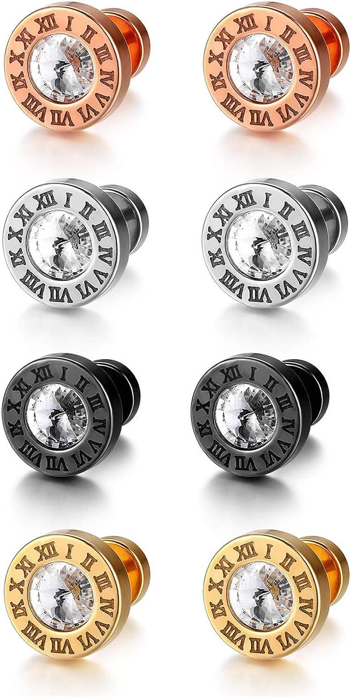 Flongo - Pendientes de botón de acero inoxidable, pendientes de color negro, oro rosa, plata, con circonitas y números romanos, para hombre y mujer