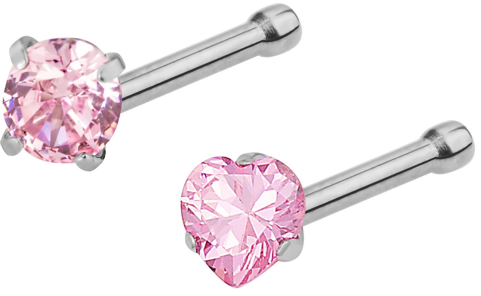 Set of 2 Straight Nose Studs: 20g Surgical Steel Round & Heart Shaped Pink CZ Crystal Nose Rings