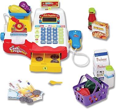Supermercado Caja registradora con la Compra escáner, Peso Escala, micrófono, calculadora, Dinero y Compras de Alimentos de Juguete de Juegos para niños: Amazon.es: Juguetes y juegos
