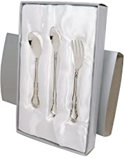 Stephan Baby Keepsake 3 Piece Silver Plated Feeding Set in Satin-Lined Gift Box