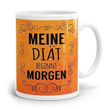 Drucksaal Tasse Mit Spruch Meine Diat Beginnt Morgen Bedruckter