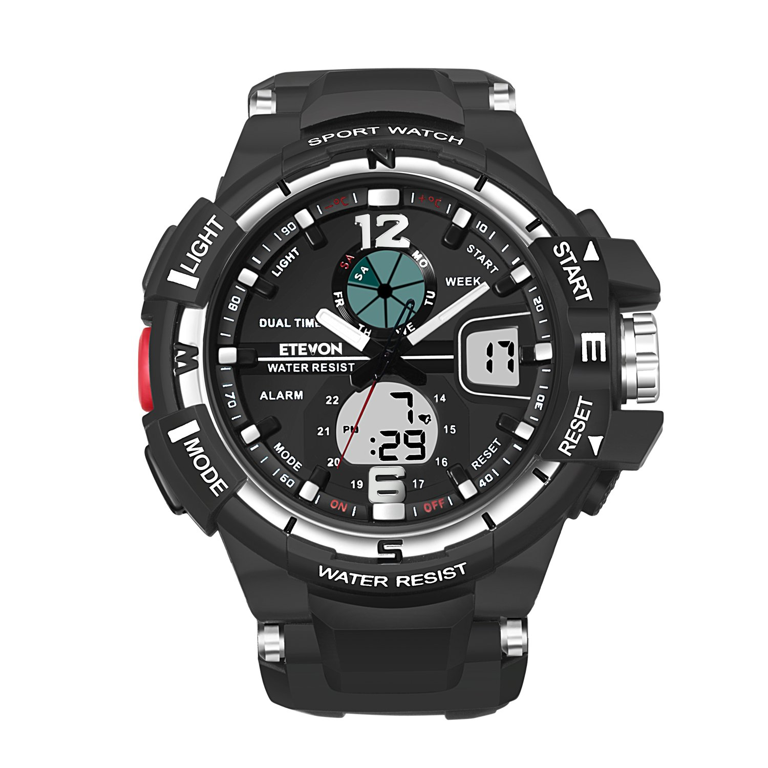 ETEVON Men's 'Galaxy' Fashion Analog Digital Wrist Watch with Double Buckles - EL Back Light - Two Time Zone - 30m Water Resistant - Imported Movement, Stylish Outdoor Sport Watches for Men - Black