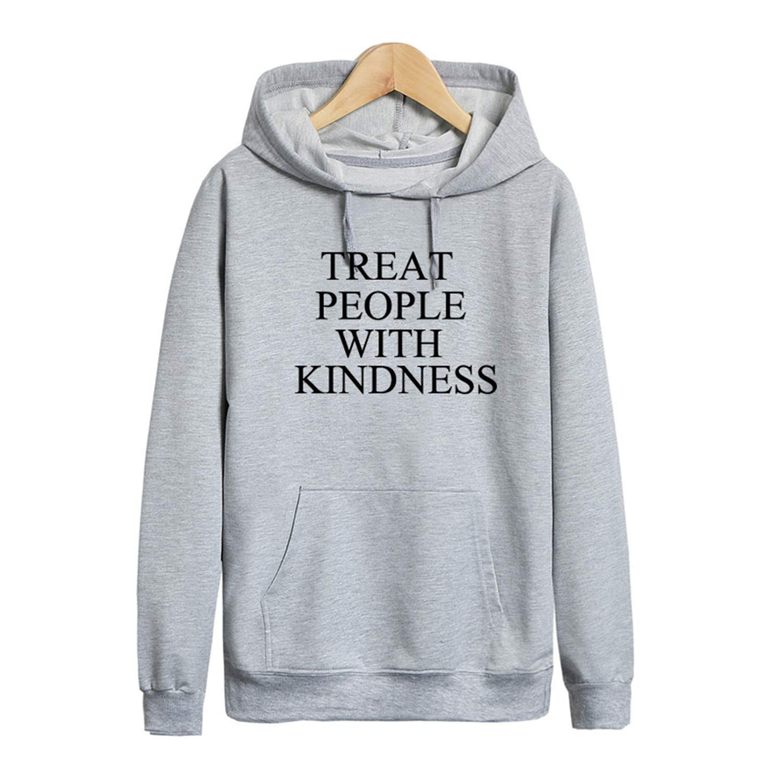 REBORNS Treat People with Kindness Sweatshirt Women Casual Long Sleeved Hoodies Unisex Gray S