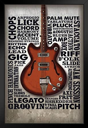 Amazoncom Guitar Riffs Word Art Music Framed Poster 14x20 Inch