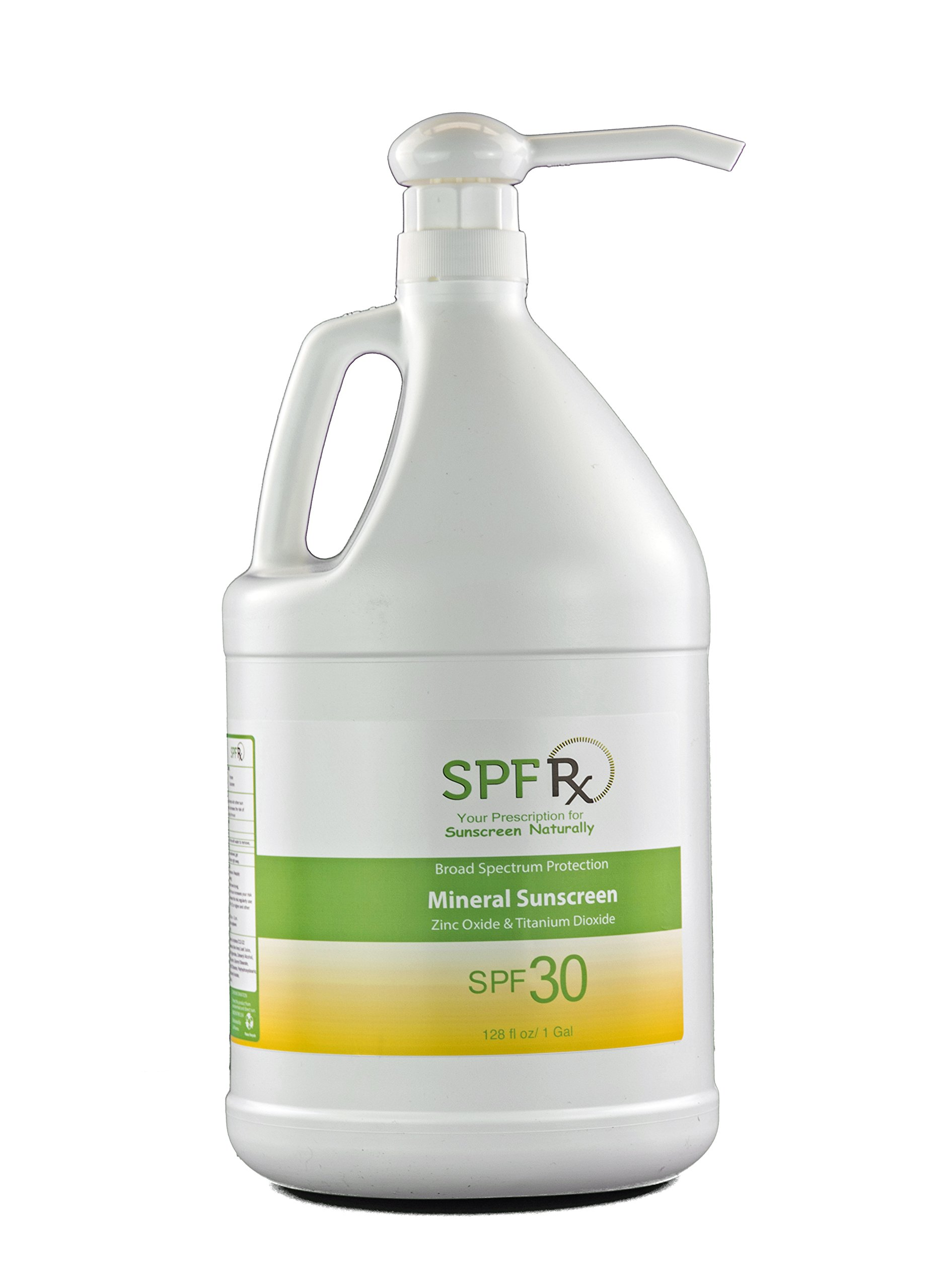 SPF Rx Natural Facial and Body Sunscreen SPF 30 with Zinc Oxide & Titanium Dioxide Mineral Based Sunblock, 1 Gallon
