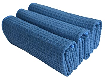 Sinland Microfiber Waffle Weave Kitchen Towels Dish Cloth 3 Pack 16inch X  24inch Navy Blue