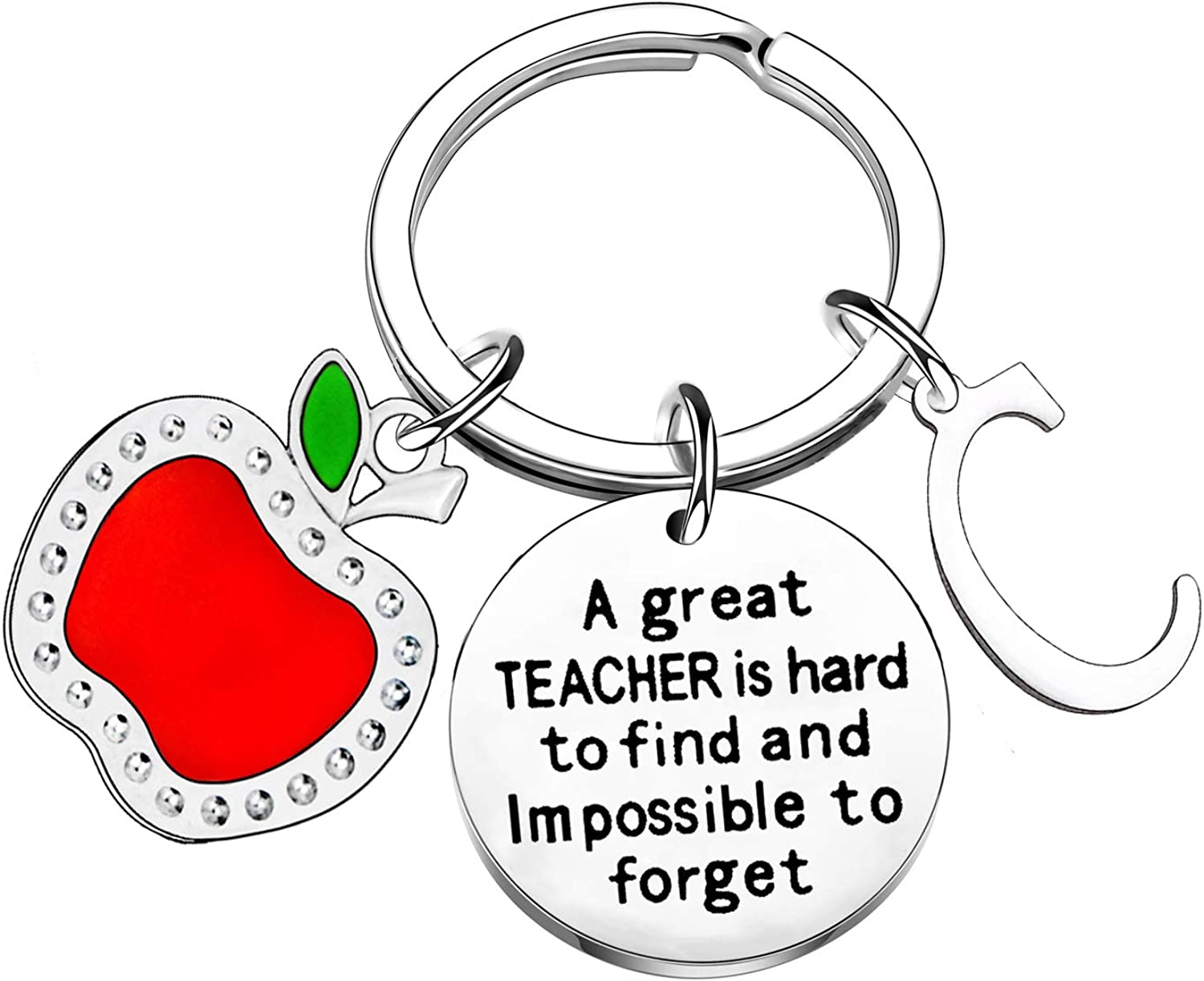 Initial Keychain Teacher Appreciation Gifts for Women Gifts for Teachers Key Chain Thank You Gifts for Women Valentines Gifts