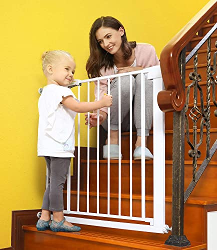 Baby Gates for Stairs and Doorways Dog Gates for The House, 30-40.5 inches – Indoor Safety Gates for Kids or Pets, Walk Through Extra Wide Tall Metal Gate Pressure Mount Auto Close