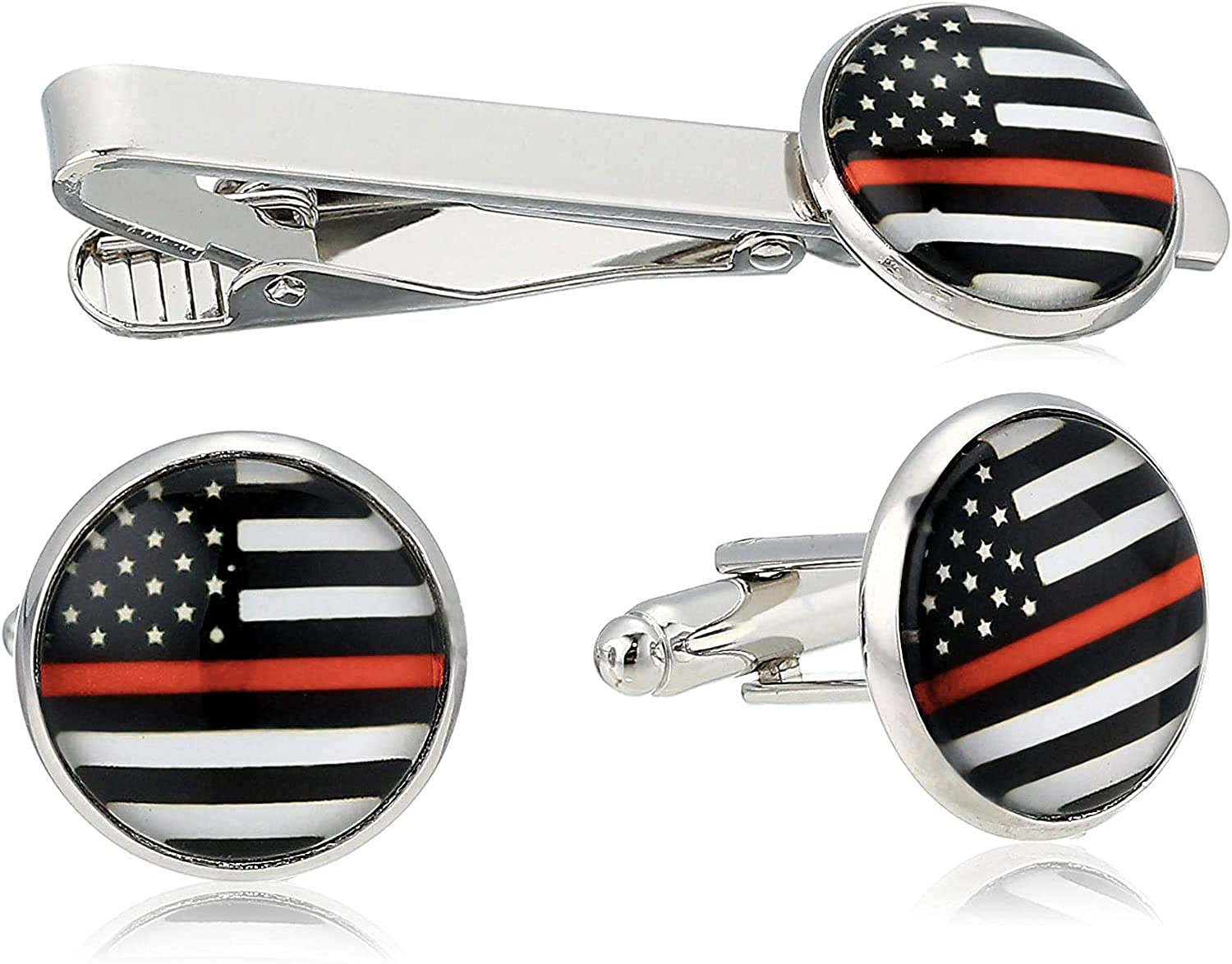 American Flag Tie Bar Clip and Cufflinks Set - Silver Colored Metal Plated - Luxury Clothing Accessories
