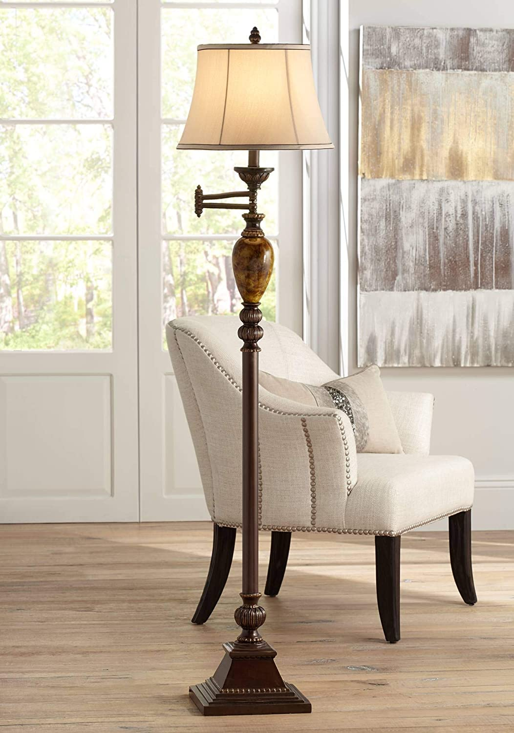 "Kathy Ireland Mulholland 61"" High Swing Arm Floor Lamp"