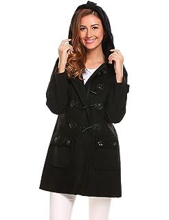 d7159e5877541 ELESOL Women s Hoodie Plus Size Jacket Wool Blend Duffle Toggle Pea Coat