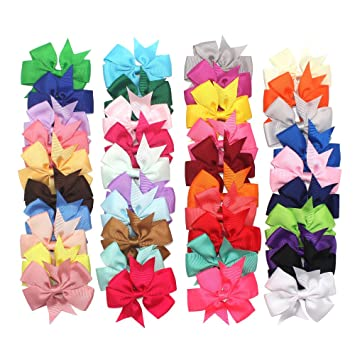 Amazon 40piece Boutique Grosgrain Ribbon Pinwheel Hair Bows