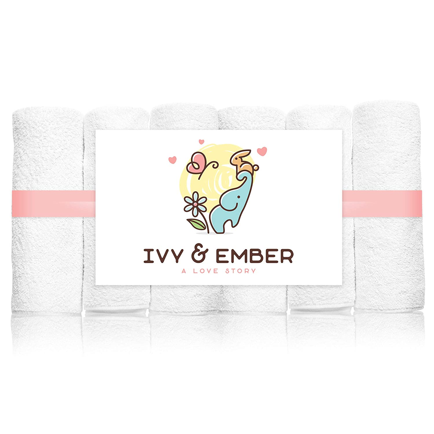 Bamboo Baby Washcloths - 100% Organic Soft Wash Cloths - Shower Registry Top 10 Must Have Gifts List - Spa & Hotel Luxury White Hand & Face Towels - Babies Wipes - Free Bonus Delicates Bag Ivy & Ember