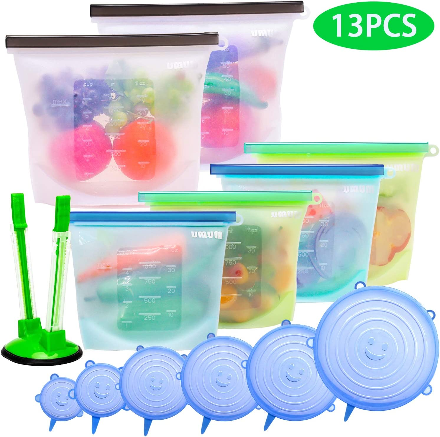Reusable Silicone Food Storage Bags & Silicone Stretch Lids, Food Grade Silicone Bags and Covers, Airtight Seal Food Preservation Bags for Vegetable, Lunch, BPA Free, Freezer & Dishwasher Safe