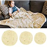 Volwco Burrito Blanket, Novelty Round Microfiber Tortilla Throw Blanket Wrap, Realistic Large Pepperoni Pizza Beach Towel Bathroom Carpet for Baby Kids Adults, 60 Inch Diameter, 1PCS