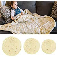 Volwco Burrito Blanket, Novelty Round Microfiber Tortilla Throw Blanket Wrap, Realistic Large Pepperoni Pizza Beach Towel Bathroom Carpet for Baby Kids Adults, 48 Inch Diameter, 1PCS