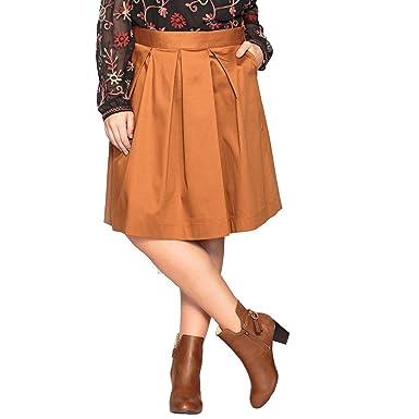 Castaluna Frau Halblanger Rock Mit Ausgestellter Schnittform, Unifarben fb998a3319