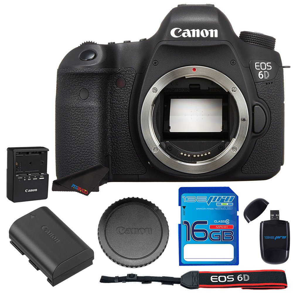 Canon EOS 6D 20.2 MP CMOS Digital SLR Camera with 3.0-Inch LCD (Body Only) - Wi-Fi Enabled + 16GB SD Memory Card - International Version