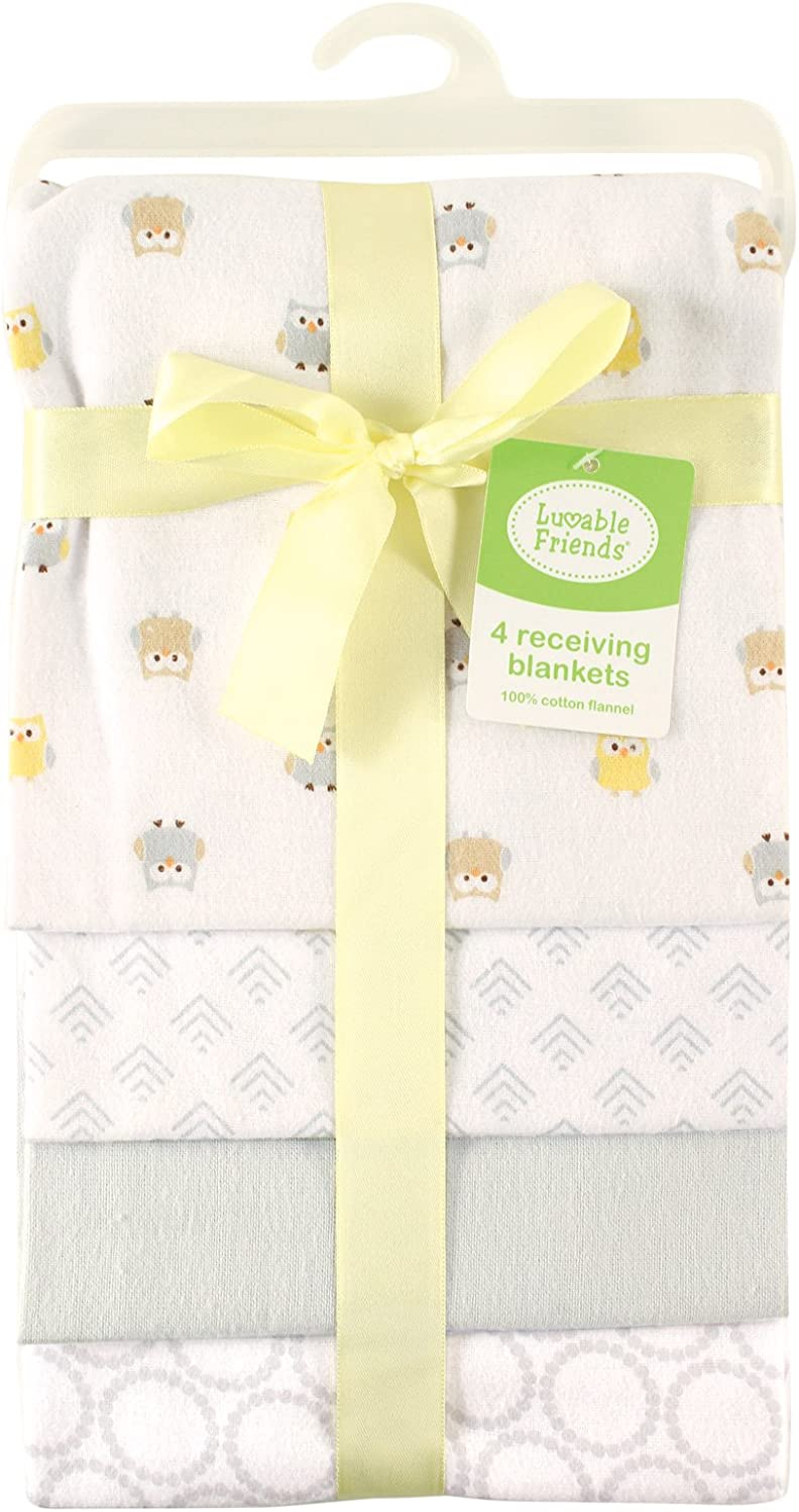 Luvable Friends 5-Piece Flannel Receiving Blankets Giraffe 28 x28