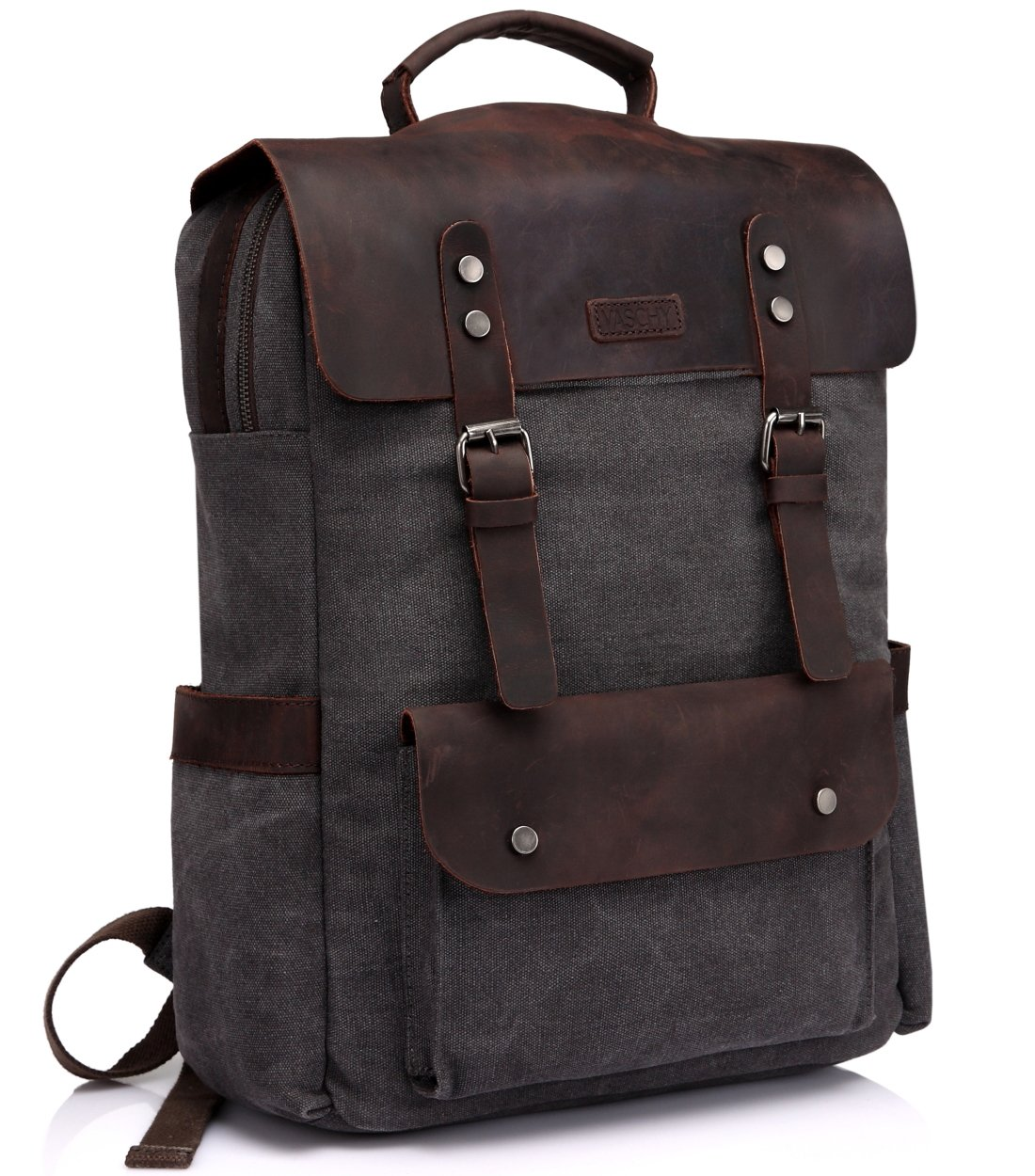 Vaschy Leather Laptop Backpack, Casual Canvas Campus School Rucksack with 15.6 inch Laptop Compartment