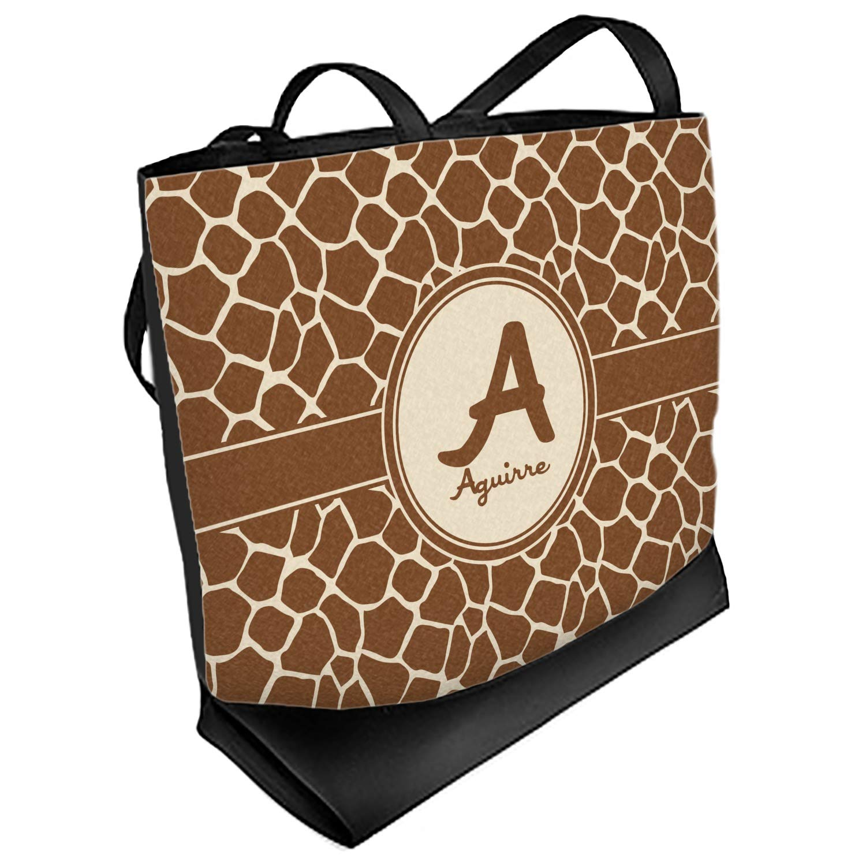 Regular Front Personalized Giraffe Print Beach Tote Bag