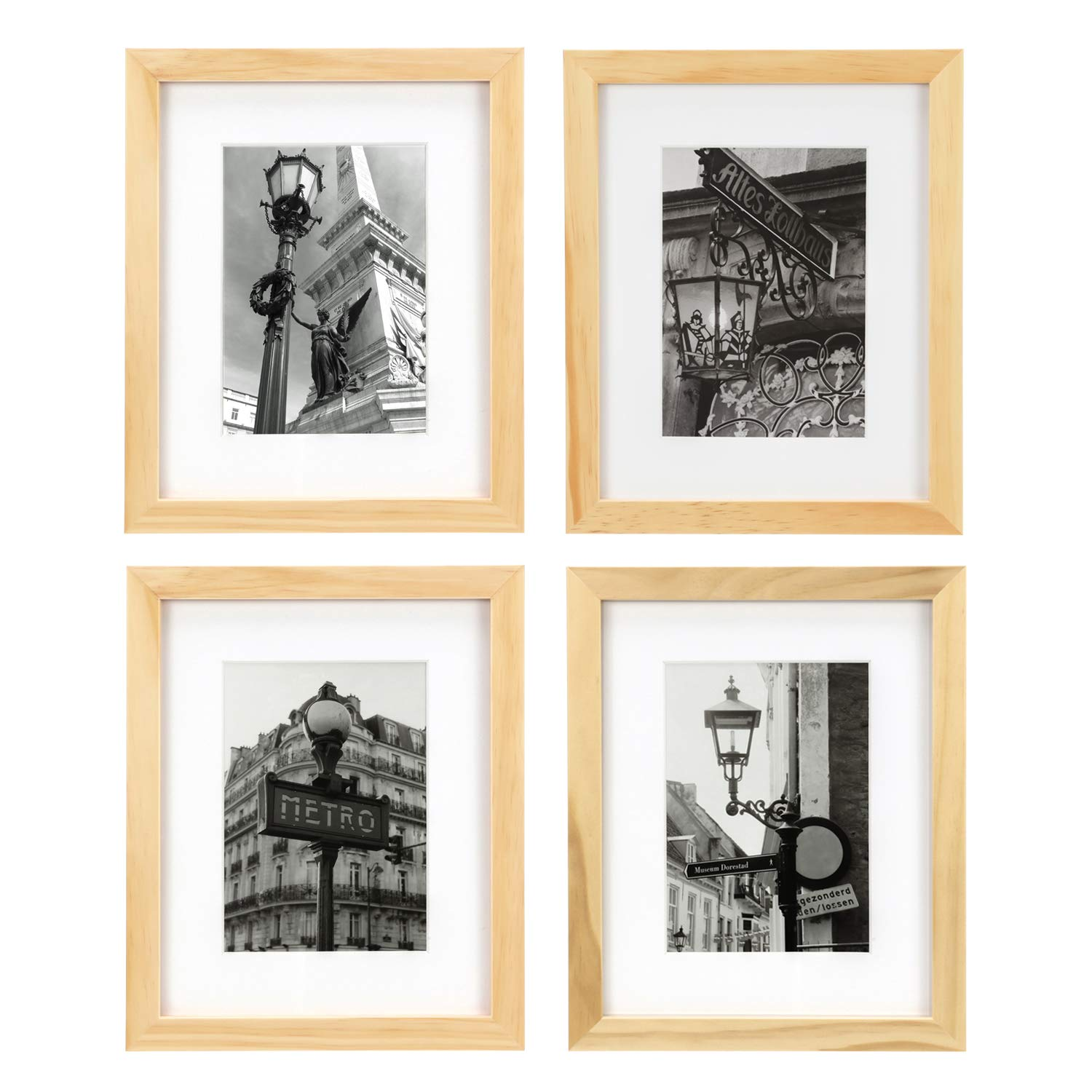 ONE WALL Tempered Glass 8x10 Picture Frame Solid Wooden Frame Set of 4 with Mats for 5x7 Photo - Natural Wood Color Frames for Wall Mounting or Tabletop - Mounting Hardware Included by ONE WALL