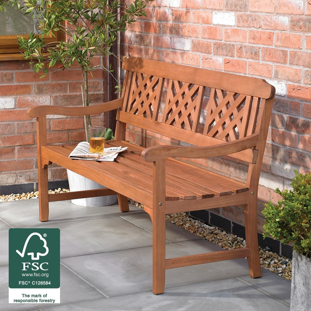 Beauty4Less 3 Seater Fence Garden Bench with Diagonal Slotted Back Design