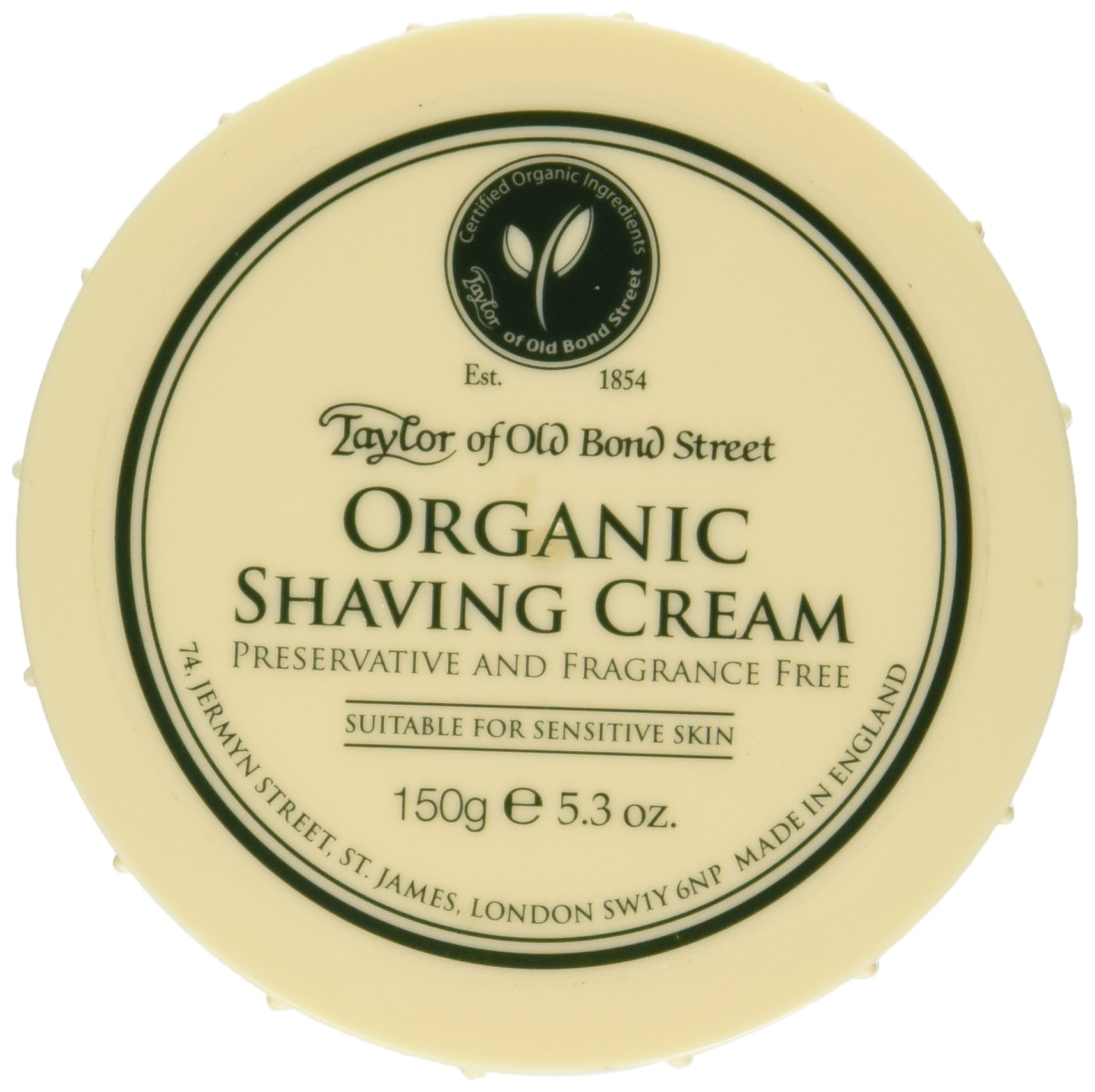 Taylor of Old Bond Street Organic Shaving Cream w/Aloe & Jojoba *New* 5.3 oz.