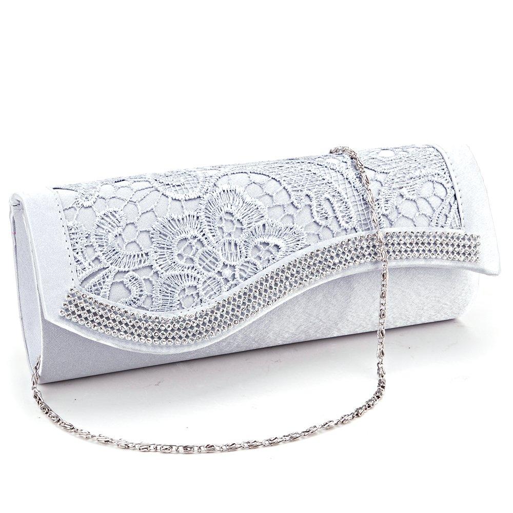 Anladia Floral Lace Stain Crystal Diamantes Evening Clutch Bag Wedding Purse Handbag (Silver Grey)