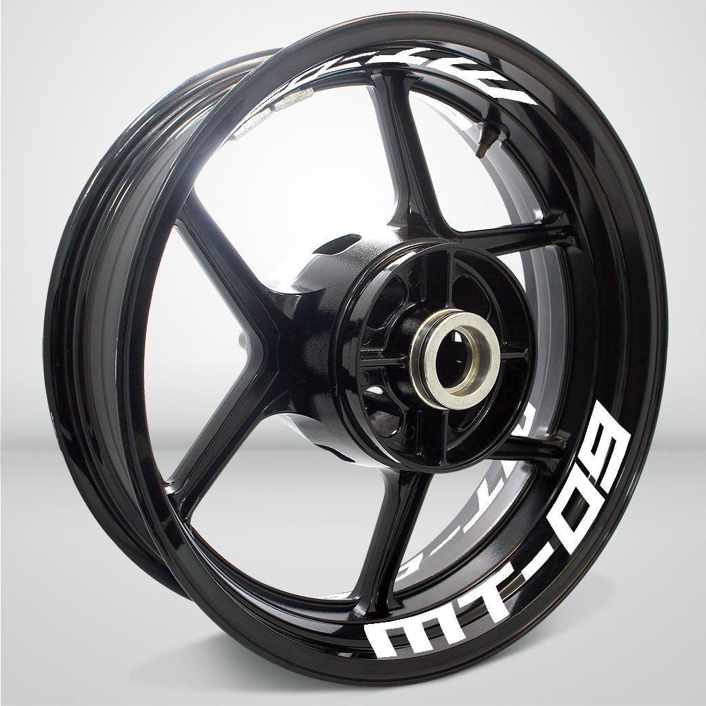 Nero Lucido Ruote Moto Cerchione Inner Rim Tape Decalcomanie Adesivi per Yamaha MT09