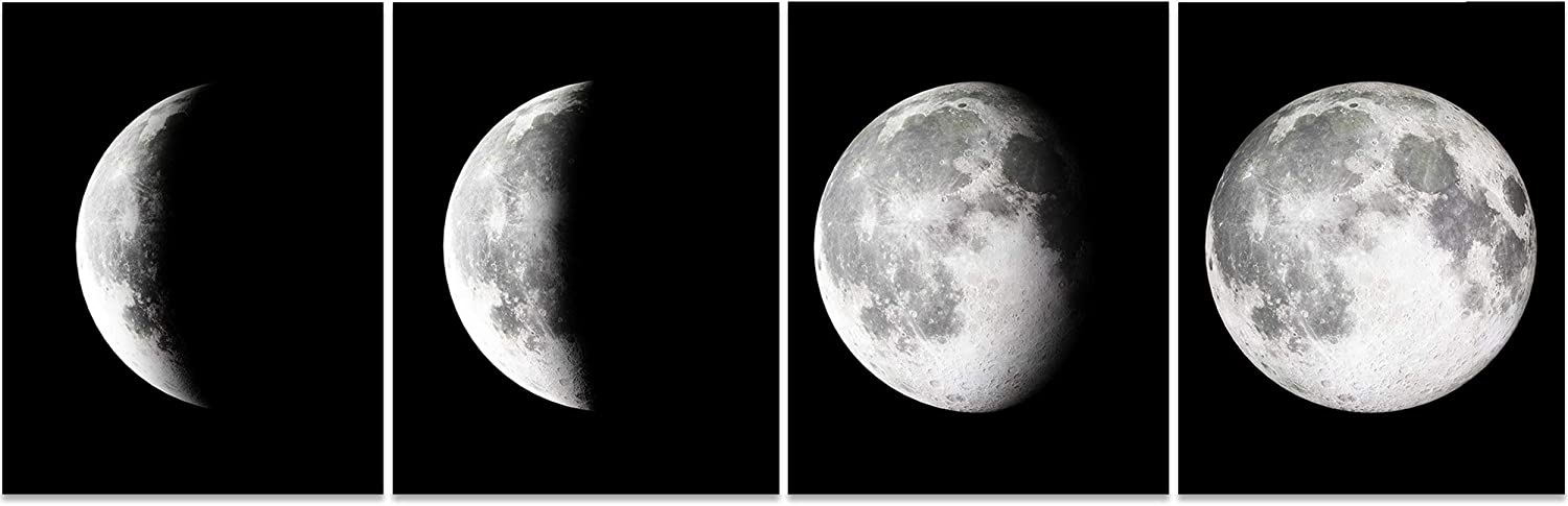 Moon Wall Art, Black and White Wall Art, Bedroom Wall Decor, Living Room wall Decor, Wall Art for Home Office (Set of 4, 8X10in, Unframed)